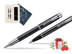 Parker IM Black Lacquer CT Fountain Pen + Parker IM Black Lacquer CT Ballpoint Pen in a Gift Box  Christmas navy blue