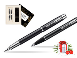 Parker IM Black Lacquer CT Fountain Pen + Parker IM Black Lacquer CT Ballpoint Pen in a Gift Box  Magic of Christmas