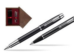 Parker IM Black Lacquer CT Fountain Pen + Parker IM Black Lacquer CT Ballpoint Pen in a Gift Box  double wooden box Wenge Double Maroon