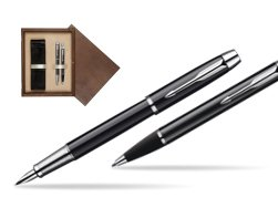 Parker IM Black Lacquer CT Fountain Pen + Parker IM Black Lacquer CT Ballpoint Pen in a Gift Box  double wooden box Wenge Double Ecru