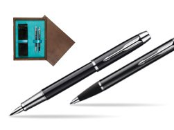 Parker IM Black Lacquer CT Fountain Pen + Parker IM Black Lacquer CT Ballpoint Pen in a Gift Box  double wooden box Wenge Double Turquoise