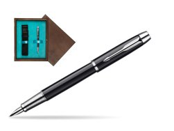 Parker IM Black Lacquer CT Fountain Pen  single wooden box  Wenge Single Turquoise