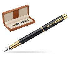 Parker IM Black Lacquer GT Fountain Pen  in classic box brown