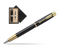 Parker IM Black Lacquer GT Fountain Pen  single wooden box  Wenge Single Ecru