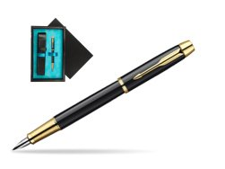 Parker IM Black Lacquer GT Fountain Pen  single wooden box  Black Single Turquoise