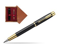 Parker IM Black Lacquer GT Fountain Pen  single wooden box Mahogany Single Maroon