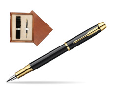 Parker IM Black Lacquer GT Fountain Pen  single wooden box  Mahogany Single Ecru