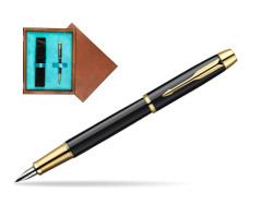 Parker IM Black Lacquer GT Fountain Pen  single wooden box  Mahogany Single Turquoise