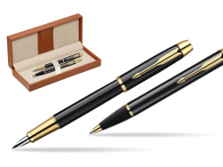 Parker IM Black Lacquer GT Fountain Pen + Parker IM Black Lacquer GT Ballpoint Pen in a Gift Box  in classic box brown