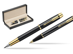 Parker IM Black Lacquer GT Fountain Pen + Parker IM Black Lacquer GT Ballpoint Pen in a Gift Box  in classic box  pure black