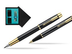 Parker IM Black Lacquer GT Fountain Pen + Parker IM Black Lacquer GT Ballpoint Pen in a Gift Box  double wooden box Black Double Turquoise