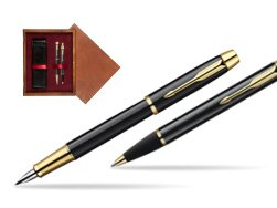 Parker IM Black Lacquer GT Fountain Pen + Parker IM Black Lacquer GT Ballpoint Pen in a Gift Box  double wooden box Mahogany Double Maroon
