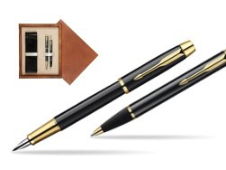 Parker IM Black Lacquer GT Fountain Pen + Parker IM Black Lacquer GT Ballpoint Pen in a Gift Box  double wooden box Mahogany Double Ecru