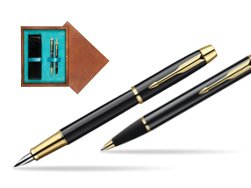 Parker IM Black Lacquer GT Fountain Pen + Parker IM Black Lacquer GT Ballpoint Pen in a Gift Box  double wooden box Mahogany Double Turquoise