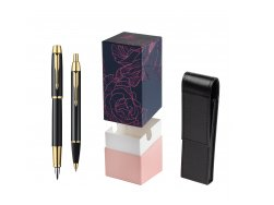 Parker IM Black Lacquer GT Fountain Pen + Parker IM Black Lacquer GT Ballpoint Pen in a Gift Box  StandUP Roses