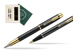 "Parker IM Black Lacquer GT Fountain Pen + Parker IM Black Lacquer GT Ballpoint Pen in a Gift Box in Gift Box ""Science"""