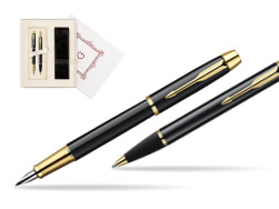 "Parker IM Black Lacquer GT Fountain Pen + Parker IM Black Lacquer GT Ballpoint Pen in a Gift Box in Gift Box ""Pure Love"""