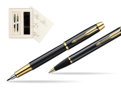 Parker IM Black Lacquer GT Fountain Pen + Parker IM Black Lacquer GT Ballpoint Pen in a Gift Box in Wedding Gift Box