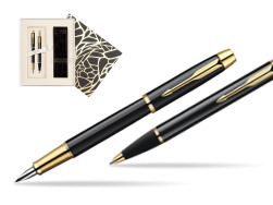 Parker IM Black Lacquer GT Fountain Pen + Parker IM Black Lacquer GT Ballpoint Pen in a Gift Box in Standard Gift Box