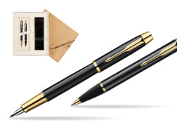 Parker IM Black Lacquer GT Fountain Pen + Parker IM Black Lacquer GT Ballpoint Pen in a Gift Box in Standard 2