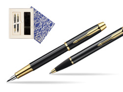 Parker IM Black Lacquer GT Fountain Pen + Parker IM Black Lacquer GT Ballpoint Pen in a Gift Box  Universal Crystal Blue
