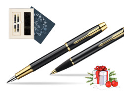 Parker IM Black Lacquer GT Fountain Pen + Parker IM Black Lacquer GT Ballpoint Pen in a Gift Box  Christmas navy blue