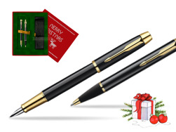 Parker IM Black Lacquer GT Fountain Pen + Parker IM Black Lacquer GT Ballpoint Pen in a Gift Box  Christmas red