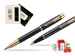 Parker IM Black Lacquer GT Fountain Pen + Parker IM Black Lacquer GT Ballpoint Pen in a Gift Box  Magic of Christmas