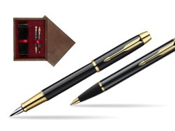 Parker IM Black Lacquer GT Fountain Pen + Parker IM Black Lacquer GT Ballpoint Pen in a Gift Box  double wooden box Wenge Double Maroon