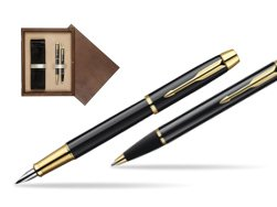 Parker IM Black Lacquer GT Fountain Pen + Parker IM Black Lacquer GT Ballpoint Pen in a Gift Box  double wooden box Wenge Double Ecru