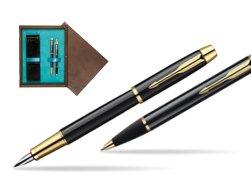 Parker IM Black Lacquer GT Fountain Pen + Parker IM Black Lacquer GT Ballpoint Pen in a Gift Box  double wooden box Wenge Double Turquoise