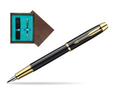 Parker IM Black Lacquer GT Fountain Pen  single wooden box  Wenge Single Turquoise