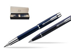 Parker IM Blue Lacquer CT Fountain Pen + Parker IM Blue Lacquer CT Ballpoint Pen in a Gift Box