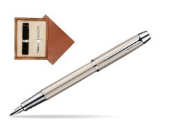 Parker IM Brushed Metal CT Fountain Pen  single wooden box  Mahogany Single Ecru