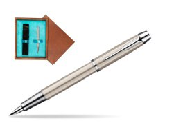 Parker IM Brushed Metal CT Fountain Pen  single wooden box  Mahogany Single Turquoise