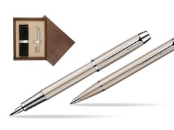 Parker IM Brushed Metal CT Fountain Pen + Parker IM Brushed Metal CT Ballpoint Pen in a Gift Box  double wooden box Wenge Double Ecru