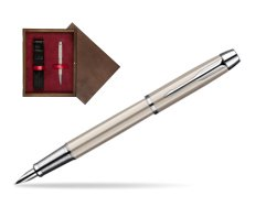 Parker IM Brushed Metal CT Fountain Pen  single wooden box  Wenge Single Maroon