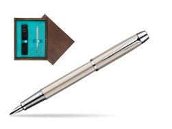 Parker IM Brushed Metal CT Fountain Pen  single wooden box  Wenge Single Turquoise