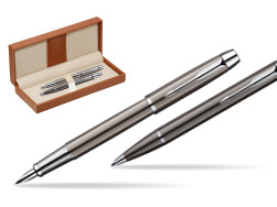 Parker IM Gun Metal CT Fountain Pen + Parker IM Gun Metal CT Ballpoint Pen in a Gift Box  in classic box brown