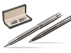 Parker IM Gun Metal CT Fountain Pen + Parker IM Gun Metal CT Ballpoint Pen in a Gift Box  in classic box  black
