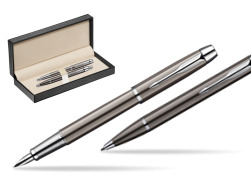Parker IM Gun Metal CT Fountain Pen + Parker IM Gun Metal CT Ballpoint Pen in a Gift Box  in classic box  pure black