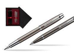 Parker IM Gun Metal CT Fountain Pen + Parker IM Gun Metal CT Ballpoint Pen in a Gift Box  double wooden box Black Double Maroon