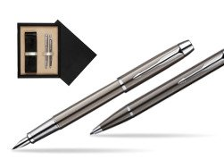 Parker IM Gun Metal CT Fountain Pen + Parker IM Gun Metal CT Ballpoint Pen in a Gift Box  double wooden box Black Double Ecru