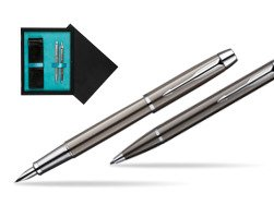 Parker IM Gun Metal CT Fountain Pen + Parker IM Gun Metal CT Ballpoint Pen in a Gift Box  double wooden box Black Double Turquoise