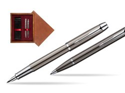 Parker IM Gun Metal CT Fountain Pen + Parker IM Gun Metal CT Ballpoint Pen in a Gift Box  double wooden box Mahogany Double Maroon
