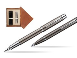 Parker IM Gun Metal CT Fountain Pen + Parker IM Gun Metal CT Ballpoint Pen in a Gift Box  double wooden box Mahogany Double Ecru
