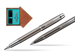 Parker IM Gun Metal CT Fountain Pen + Parker IM Gun Metal CT Ballpoint Pen in a Gift Box  double wooden box Mahogany Double Turquoise