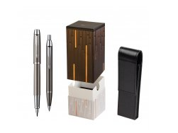 Parker IM Gun Metal CT Fountain Pen + Parker IM Gun Metal CT Ballpoint Pen in a Gift Box  StandUP Matrix