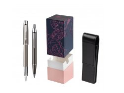 Parker IM Gun Metal CT Fountain Pen + Parker IM Gun Metal CT Ballpoint Pen in a Gift Box  StandUP Roses