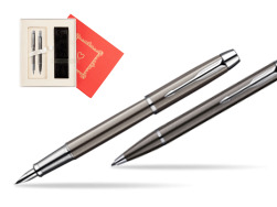 "Parker IM Gun Metal CT Fountain Pen + Parker IM Gun Metal CT Ballpoint Pen in a Gift Box  ""Red Love"""